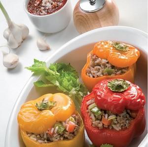 Рецепт Фаршированные перцы с грибами и фасолью в пароварке